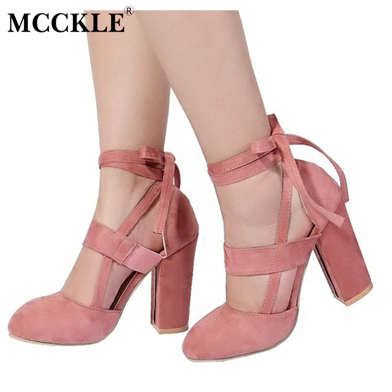 MCCKLE Female Shoes Ankle Strap High Heels Flock Cross Straps Ladies Thick Heel 2017 Fashion Plus