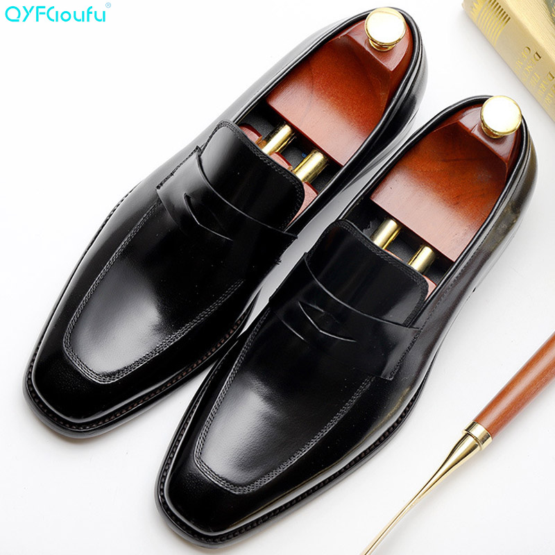 QYFCIOUFU Summer New men formal shoes Genuine Calf Leather dress Wedding Office Party Casual Handmade office