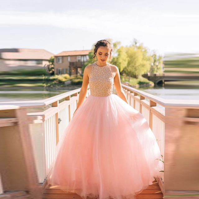 Aliexpress.com : Buy Peach Princess Pink Ball Gowns Beaded Tulle ...