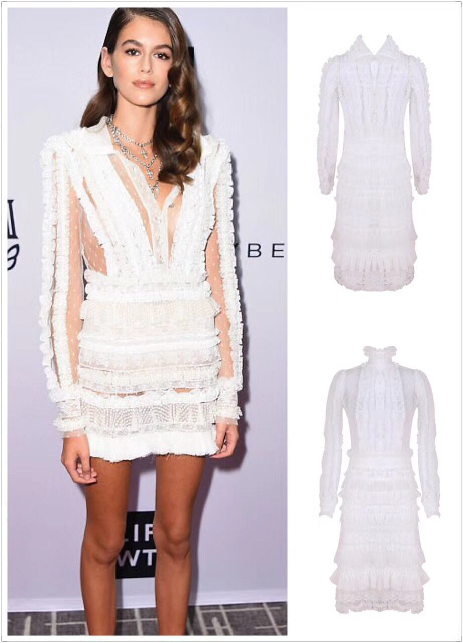Top Quality Celebrity Party Dress White Appliques Mesh ...
