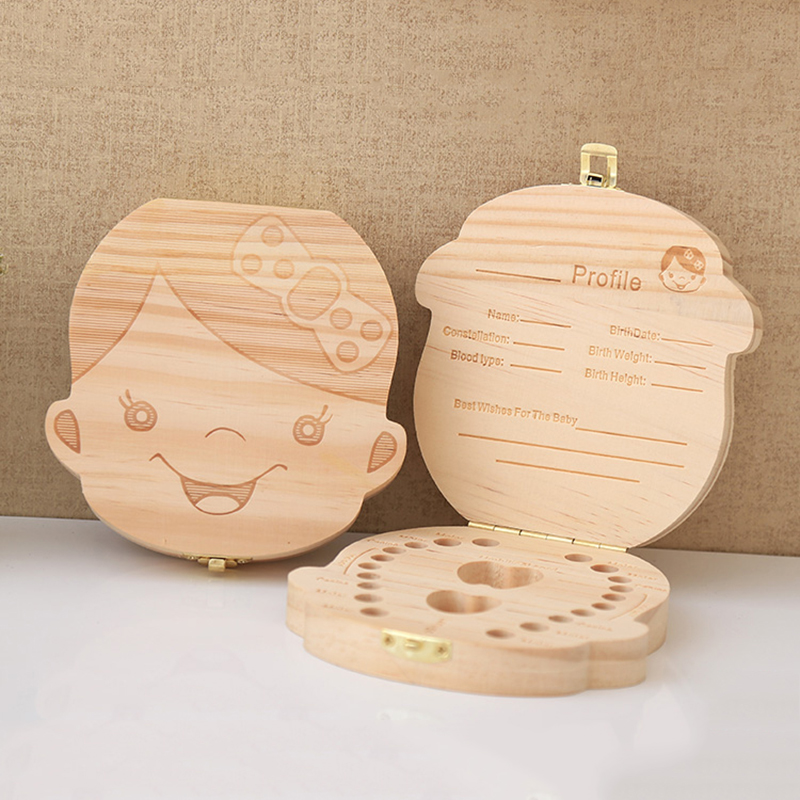 Wooden Baby Kids Tooth Storage Box English/spanish/french/russian/italian Teeth Umbilical Lanugo Organizer Gift Keepsakes Save