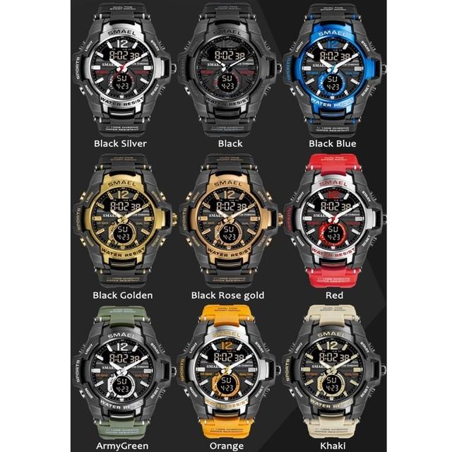 Smael 2020 relógios masculinos moda esporte super legal quartzo led relógio digital 50 m relógio de pulso à prova dwaterproof água relógio masculino 4