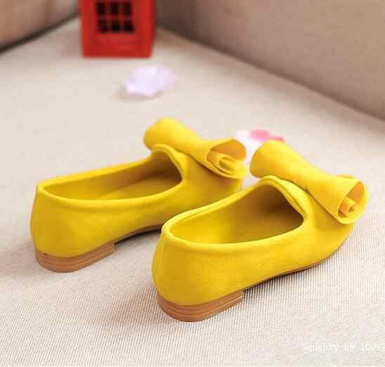 Büyük Papyon Katı Renkler Kızlar düz ayakkabı Bahar Boyutu 21-36 Çocuklar Prenses tek ayakkabı Yumuşak Sole Yürüyor Bebek Kız Ayakkabı