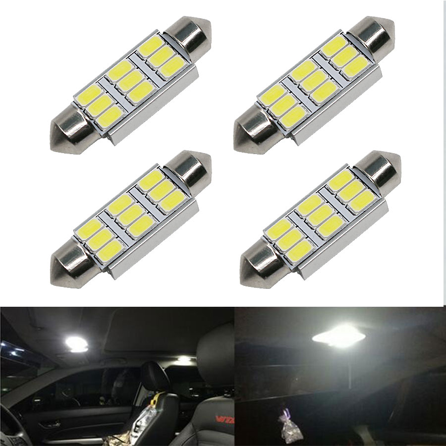 4PCS/Lot 42mm C5W C10W SV8.5 9 LED 5630 SMD Festoon CANBUS NO Error Car Licence Plate Light Auto Dome Reading Lights lamps 12V 31mm 36mm 39mm 41mm c5w c10w canbus no error auto festoon light 12 smd 4014 led car interior dome lamp reading bulb white dc 12v