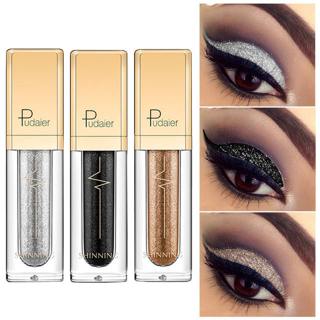 Maquillaje 2018 pudaier brillo líquido sombra de ojos Kit mujeres belleza pigmento impermeable maquillaje negro brillo sombra de ojos Color blanco