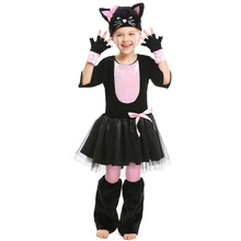 Cute Black Cat Costume Cosplay For Girls Halloween Kids Carnival Animal Performance Suit