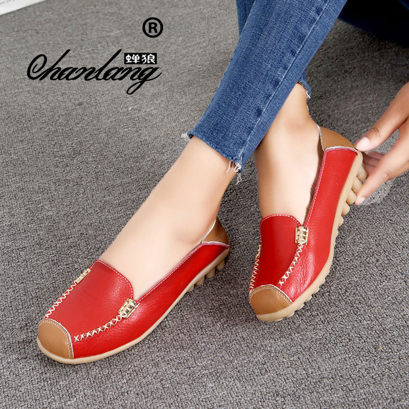 Red Ballet Véritable Femme Chaussures pink wine Zapatos Femelle Cuir Glissement yellow De Bout blue coffee navy Appartements White Mujer Sur Casual orange Rond En Ballerine Automne black Mocassins red StAqE5ndwA