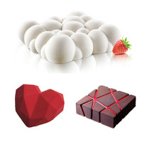 3PCS Art Cake Mould Pan 3D Grid Block Clouds Diamond Heart Silicone Mold Mousse Silikonowe Chocolate