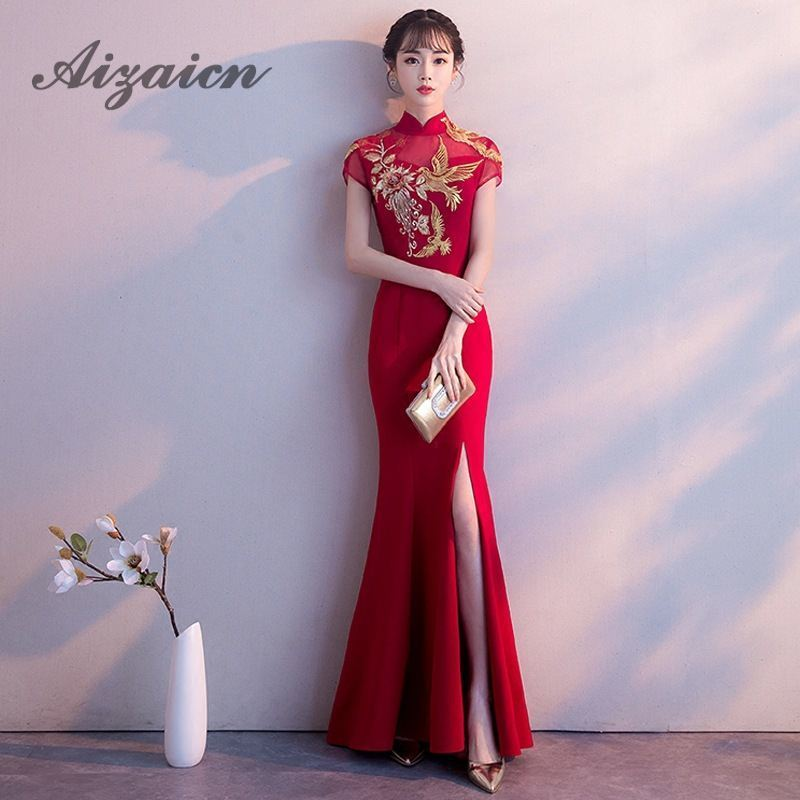 Embroidery Cheongsam Red Mermaid Wedding Dress Sexy Split Qipao Dresses Modern Robe Rouge Long Qi Pao Chinese Fashion Party Gown