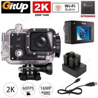 Free Shipping Gitup Git2 Pro Wireless WiFi 2K Sport Helemet Camera DV Dual Battery Charger Kit