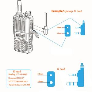 "Image 5 - סמוי אקוסטית צינור נאט""ו תקע אפרכסת אוזניות U94 PTT מיקרופון עבור Kenwoode Baofeng UV5R TYT MD380 רדיו"