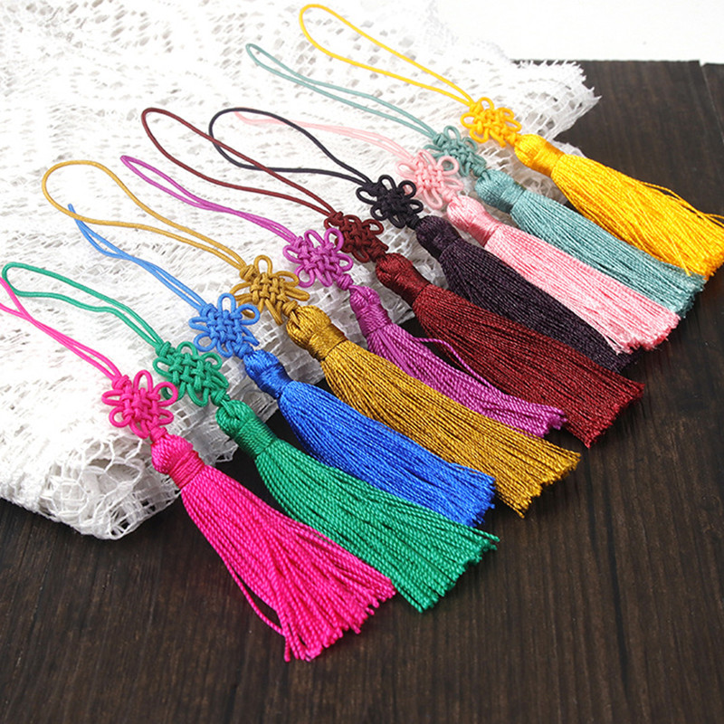 Decoration, 80mm Craft 10pcs silver silk  tassels size 130x6mm; Tassel Sewing