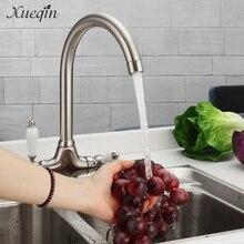 Сюэцинь Хром Латунь Кухня Раковина воды кран двойная ручка холодной и горячей ванной смеситель воды в бассейне смесители