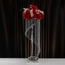 Luxurious Wedding Decoration Demountable Crystal Flower Stand Candelabra Centerpiece with Pendant