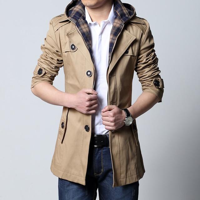 2016 outono casacos de inverno dos homens novos plus size 6xl 5xl 4xl 3xl moda casacos longos homens casuais casaco de trincheira dos homens outwear