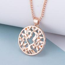 imixlot New Fashion Gold Color Tree Of Life Pendant Necklace for Women Simple Wild Hollow Round Choker Jewelry