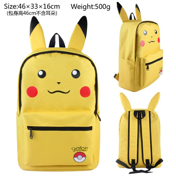 Pikachu Backpack Bag School Book Bag Cute Cartoon Smile Face Bag Kids Boys Girls Gift Xmas Mochila cutie dog shiba inu big smile face canvas backpack canvas school bag xmas gift 45x32x12cm