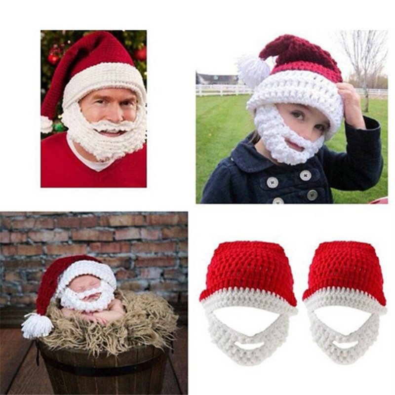 Crochet Christmas Hats Adults.Us 6 91 27 Off Creative Beard Handmade Hat Beanie For Adults And Kids Knitting Wool Funny Christmas Hats Hand Knitted Unisex Party Props 870769 In