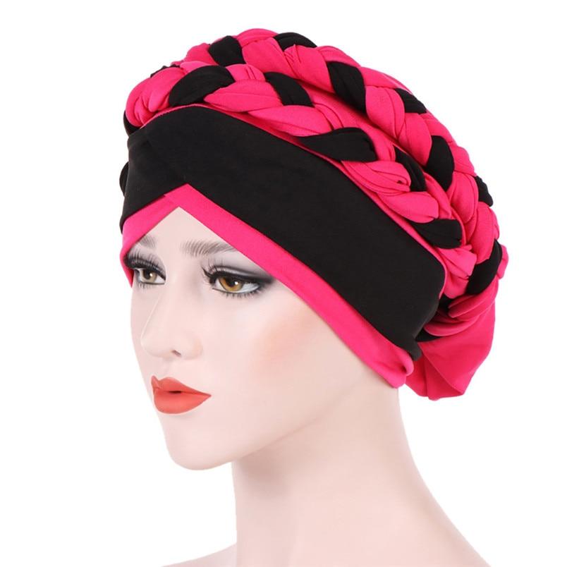2018 Fashion New Women Hairbraid India Africa Muslim Stretch Turban Cotton Hair Loss Head Scarf Wrap Cap Casual Hot Sale #L26 (18)
