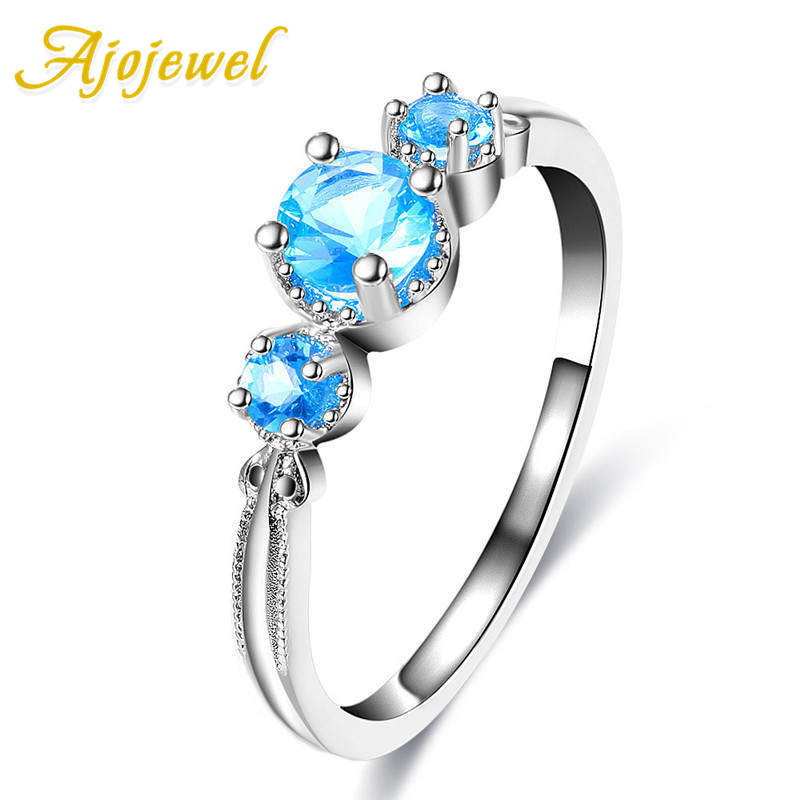 Ajojewel Classic Thin Finger Rings Special Blue Cubic Zircon Simple Copper Rings For Women Birthday Gift Wedding Party