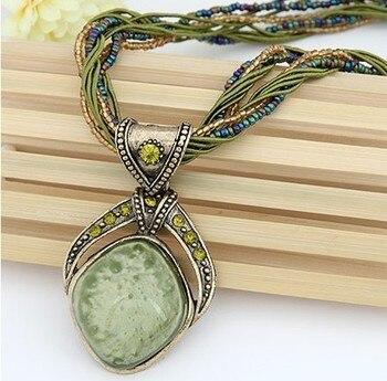 Pendentif Collier Vintage Bohème  Losange Cristal  1