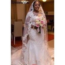 Erosebridal Plus Size Lace Mermaid Wedding Dress 2019 Real Image Elegant O Neck Design with Chapel Train robe de mariee