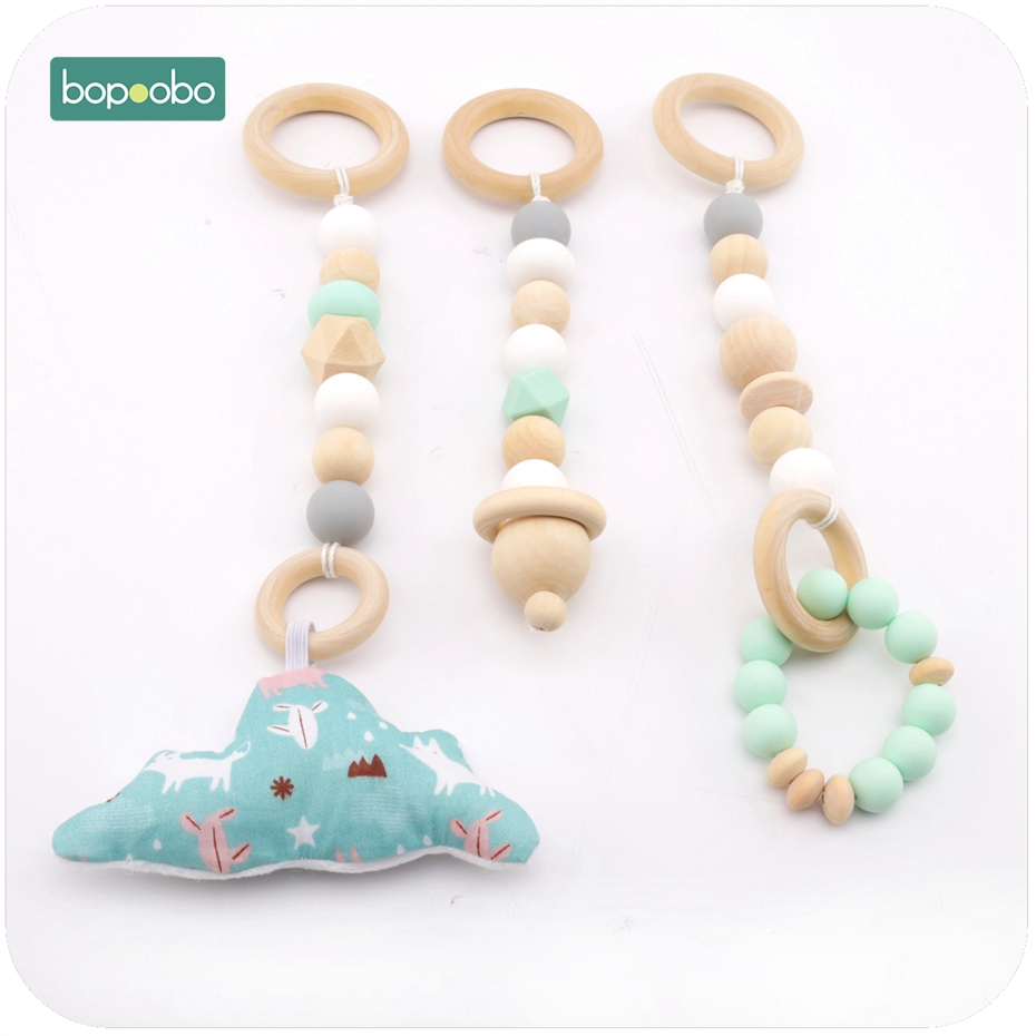 Bopoobo 3PCS Food Grade Silicone And Wood Teethers Crib Toy Sensory Baby Gym Toys Teether Nursing Rattle Baby Teether
