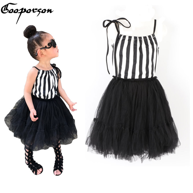 Gooporson для маленьких девочек комплект одежды модная полосатая рубашка без рукавов + юбка-пачка дети комплект для девочек детей Комплекты для ...