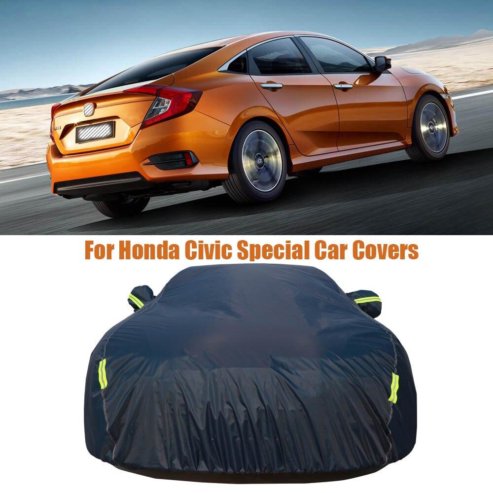Imperméable à l'eau soleil UV plein bâches de voiture couverture de protection solaire extérieure pour Honda Civic bleu marine voiture réflecteur poussière pluie neige protection