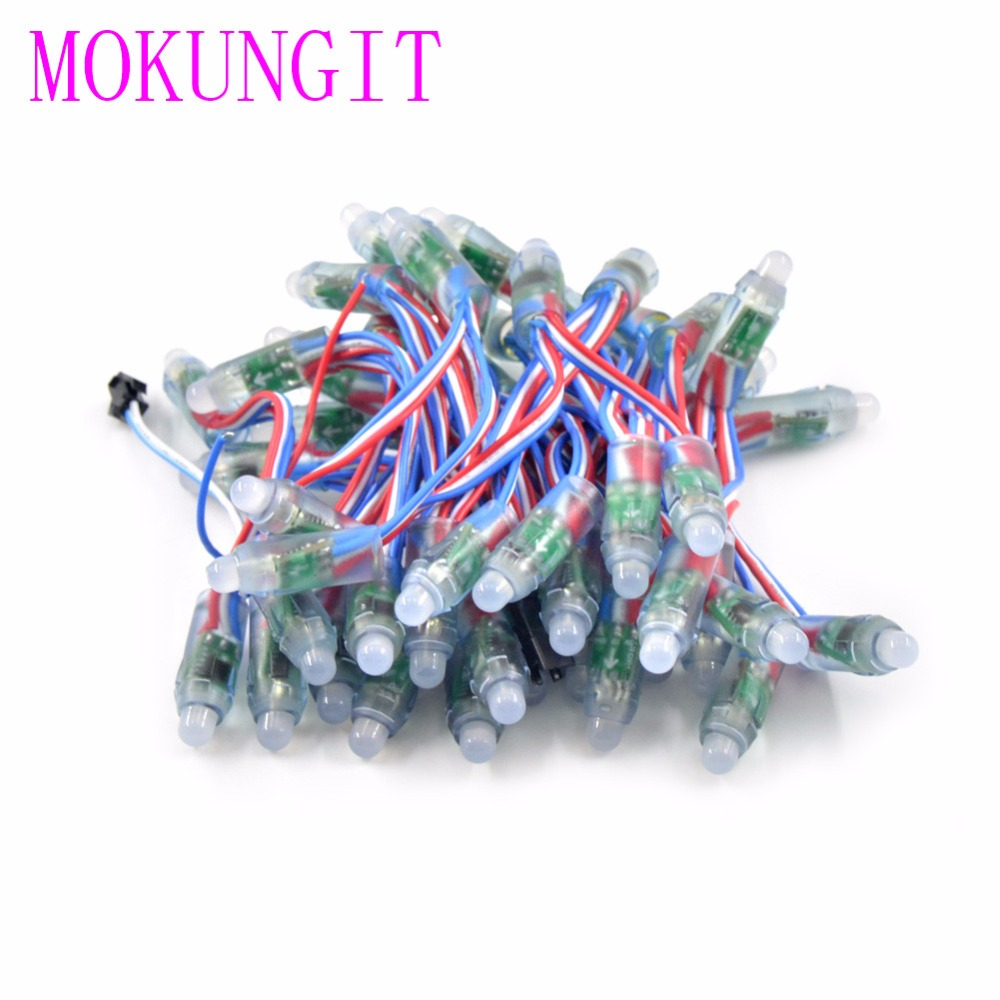 50pcs/ String DC5V 12V WS2811 IC 12mm Diffused Digital Punching RGB LED Pixel Module String Light IP68 Waterproof Colorful Wire