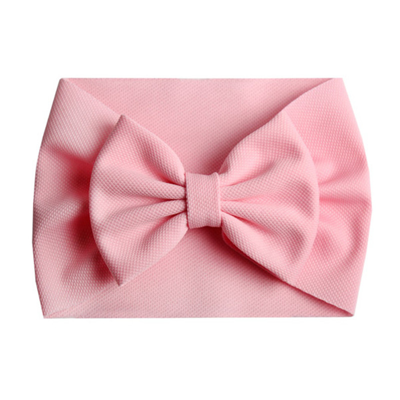 2019 New Arrival Turban Popular 5'' Big Hair Bow Headband For Girls Headwrap Textured Fabric Elastic Kids DIY Hair Accessories
