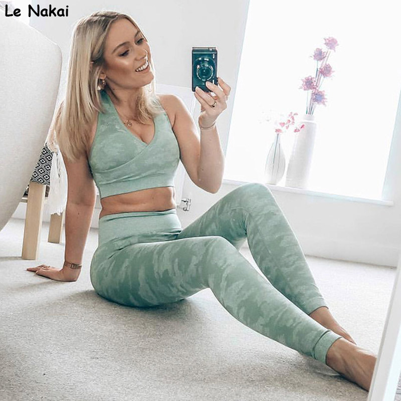 Camo seamless yoga set 2 piece workout gym set fitness clothing active sports wear seamless gym clothes sport crop top