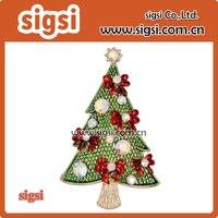 Christmas tree ribbon bow brooch Pins Gifts Crystal Holiday Charming Tree Shape Costumes hijab pin brooches Jewelry