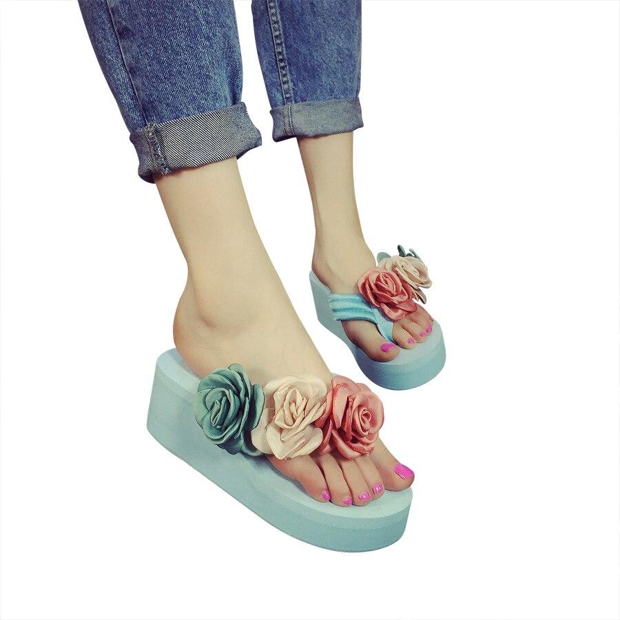 Новые Сандалии Женщин Мода Цветок Летние Сандалии Клинья Вьетнамки Платформы Тапочки Обувь Тапочки Zapatillas Sandalia Chinelo