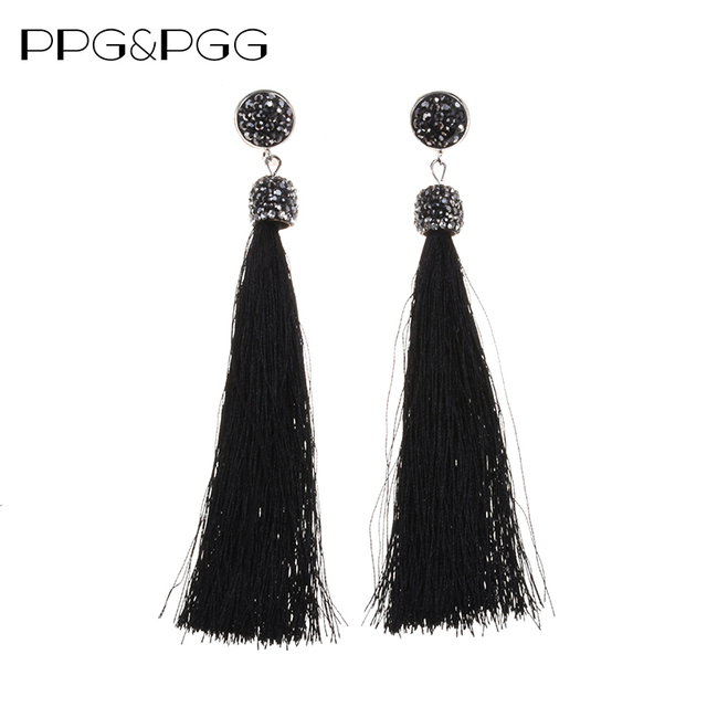 801efb047 PPG&PGG Boho Brand Crystal Ball Statement Earrings Women Long Fan Fringe  Silk Tassel Earrings 8 Colors Available