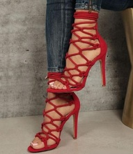цены на Big Sale Sexy Red Black Suede Strappy Sandals Cut-out Peep Toe Cross Strap Cage Shoes Women Hollow Thin Heel Gladiator Sandals  в интернет-магазинах