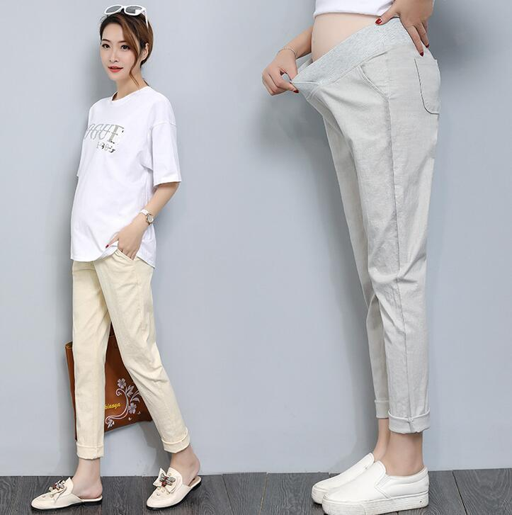maternity clothing pants spring summer pregnant women new cotton linen loose Casual pants Pregnant Elastic waistline trousers