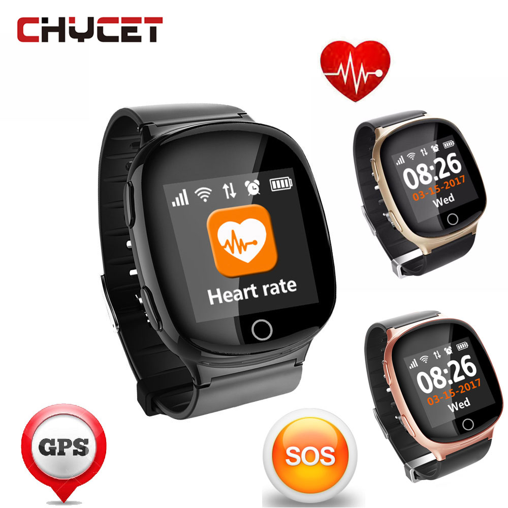 цена D100 Elderly Tracker Android Smart Watch SOS Wristwatch Heart Rate GSM GPS LBS Wifi Safety Anti-Lost Locator for iOS Android онлайн в 2017 году