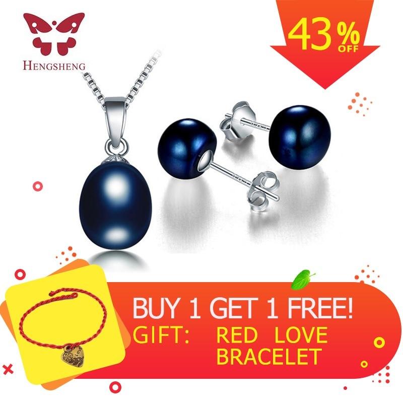 2018 Hot Sale Φυσικό μαύρο μαργαριτάρι Σετ για γυναίκες, Fine κοσμήματα Σετ υψηλής ποιότητας Σκουλαρίκια και κρεμαστό κόσμημα Stud, Σετ Γάμος Jewelly
