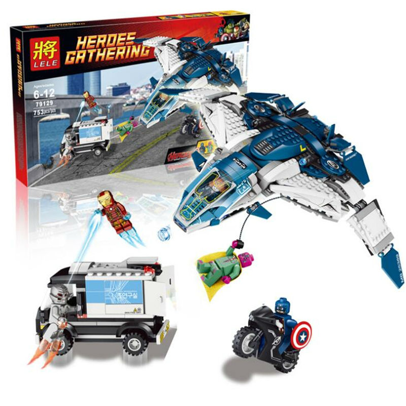 79129Building Blocks Super Heroes Avengers The Quinjet <font><b>City</b></font> <font><b>Chase</b></font> Model Jet Aircraft Minifigures Brick Compatible With gift