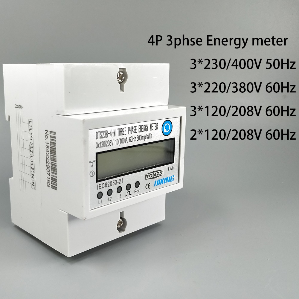 4P 10 100 A three phase Din rail KWH Watt hour din-rail energy meter LCD 3 230 400V 3 120 208V 3 220 380V 2 120 208V 50Hz 60Hz