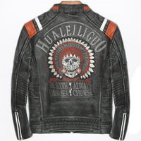 Genuine Skull Indian Leather Jacket Men Motorcycle Punk Casual Male Biker Real Cow Leather Coats Streetwear blouson cuir homme