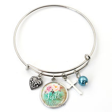 VILLWICE New expandable wire cuff bangle bracelet handmade art glass charms bangles bible verses quote jewelry christian gifts(China)