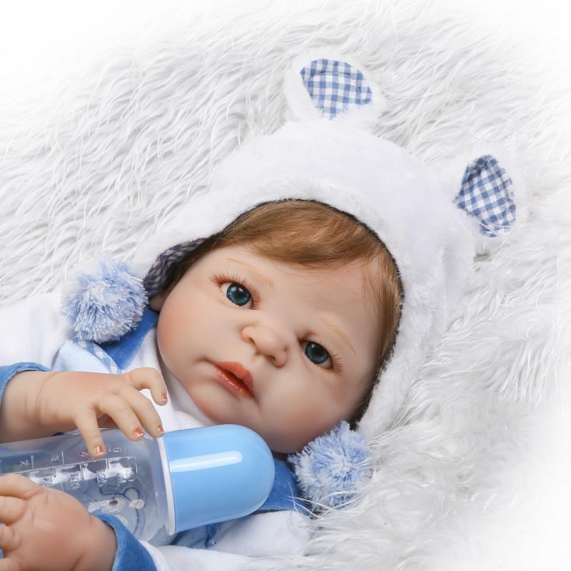 55 cm bebe reborn 22 pouces Silicone vinyle Reborn bébé garçon poupées NPK marque enfants jouets cadeau Brinquedo bonecas - 4