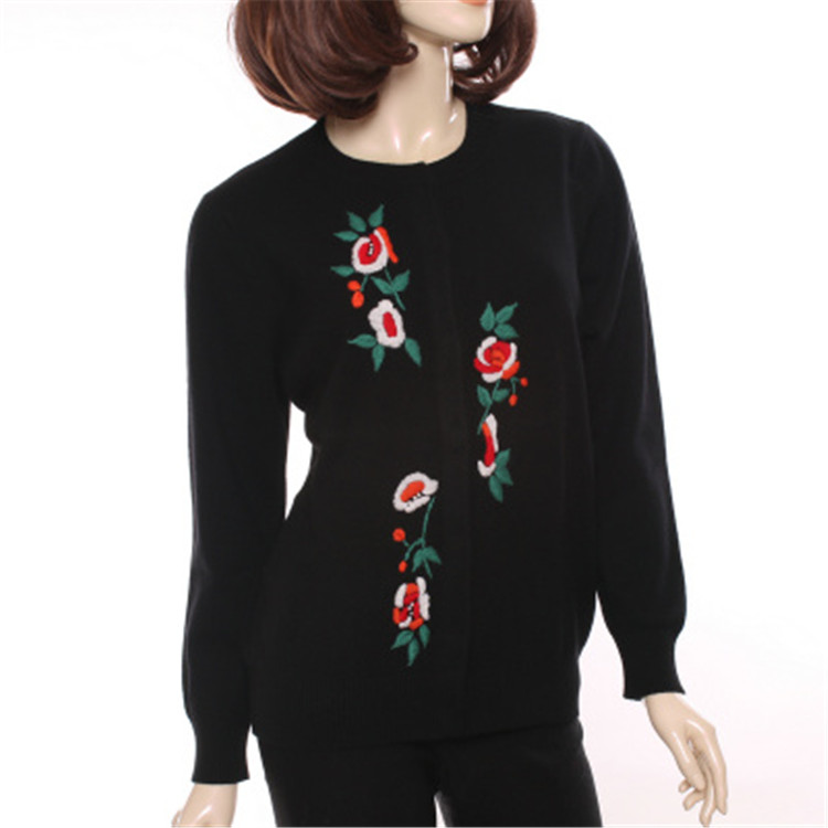 Printemps red 2xl Femmes Oneck Mode Rouge Cachemire 100 Tricot Black Broderie Automne Cardigan Chèvre 2 Floral Couleur Chandail S aqAIAUpw