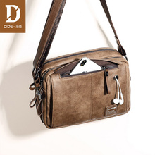 DIDE Leather Men Handbag Vintage Crossbody Bag Business Designer Brand Mens Fashion Shoulder Solid Male Casual Travel