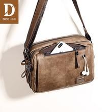 DIDE Leather Men Handbag Vintage Crossbody Bag Business Designer Brand Mens Fashion Shoulder Solid Male Casual Travel