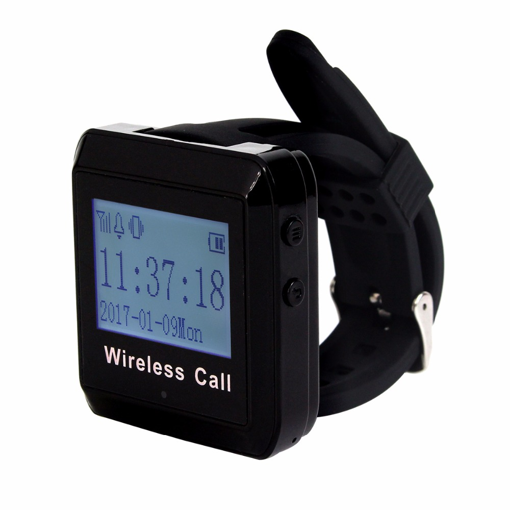 433MHz Wireless Calling Paging System Watch Receiver Host Guest Waiting Pager for Office Bank Factory F3258 1 watch receiver 8 call button 433mhz wireless calling paging system guest service pager restaurant equipments f3258