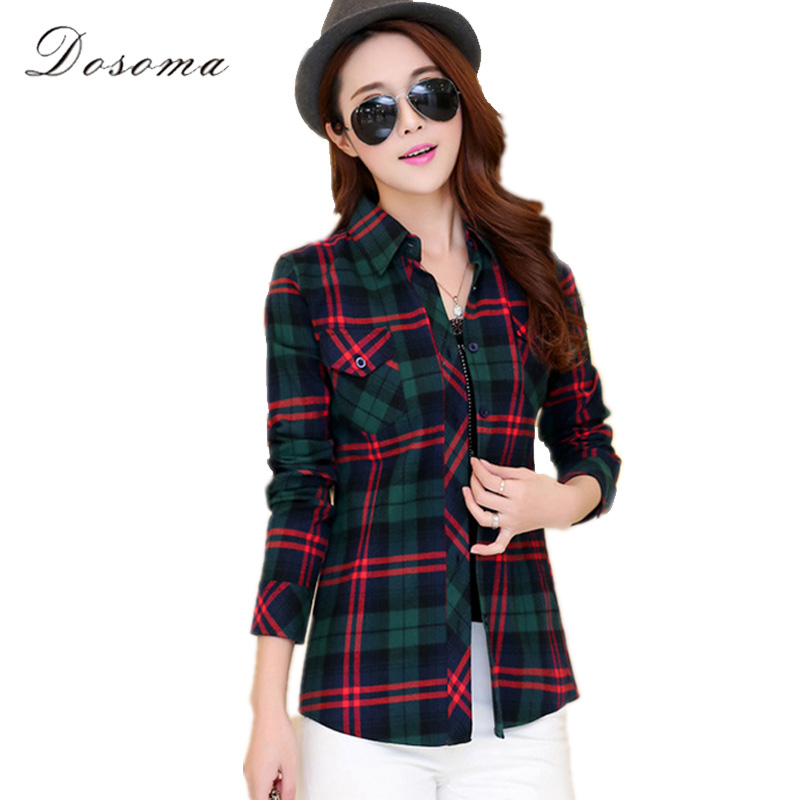 Buy plaid cotton blouse women 2017 spring for Womens green checked shirt