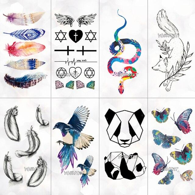 Acuarela pluma tatuaje temporal pegatina mujeres patrón geométrico Panda cuerpo Arte Nuevo diseño falso hombres tatuajes
